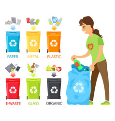 Woman cleaning place from garbage sorting waste vector