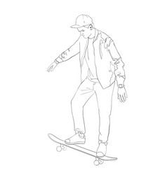 young boy with skate board isolated on background vector image