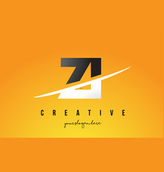 Zi z i letter modern logo design with yellow vector
