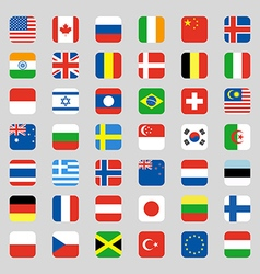 Collection of flag icon rounded square flat design vector image