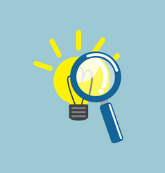 magnifying glass with light bulb idea vector image vector image