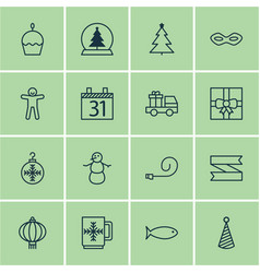 set of 16 new year icons includes lorry birthday vector image vector image