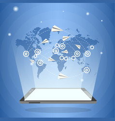 tablet computer with world map and paper airplanes vector image vector image