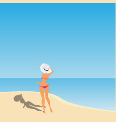 women with hat on the beach vector image