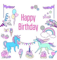 happy birthday card with unicorn cake ballons vector image vector image