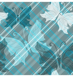pattern with diagonal strips and butterflies vector image vector image