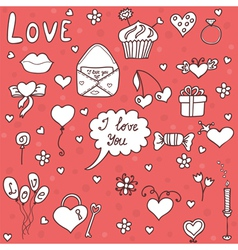 Romantic set in cartoon style vector image vector image