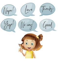 girl and different speech bubbles with words vector image vector image