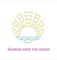 line art of sunrise over the ocean vector image