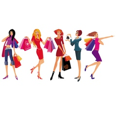 shopping pretty girl vector image