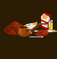 smoking wooden pipe with tobacco for rolled vector image