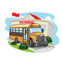 cartoon school bus t the school vector image vector image