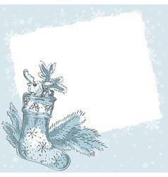 Christmas hand drawn postcard with xmas stocking vector image vector image