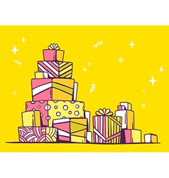 large pile of pink and yellow gifts stand vector image vector image