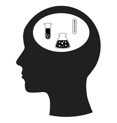 Man and thinking and scientific experiments vector image