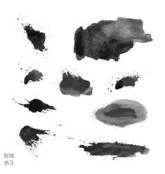 set of dark black watercolor hand painted texture vector image vector image