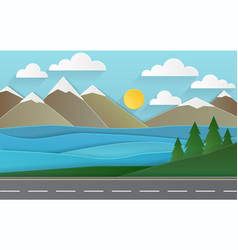 the landscape of forests mountains road and lake vector image