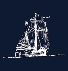 Vintage boat design vector image vector image