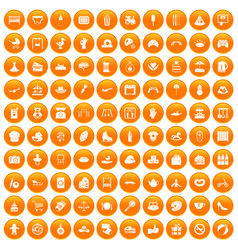 100 mother and child icons set orange vector