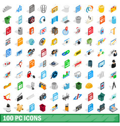 100 pc icons set isometric 3d style vector