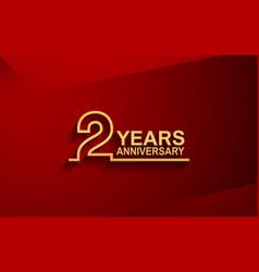 2 years anniversary line style design golden vector