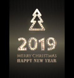 2019 merry christmas and happy new year with vector image
