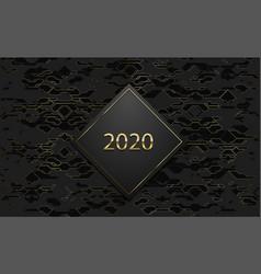 2020 luxury banner golden text on black rhombus vector image