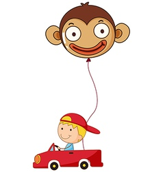 A red car with a boy and a monkey balloon vector image