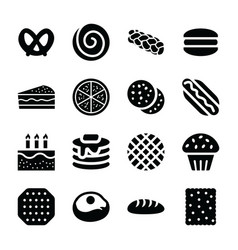 Bakery products glyph icons vector