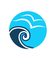 Beach waves vacation icon vector
