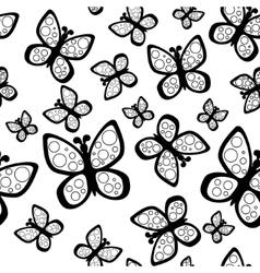 Beautiful seamless butterflies pattern in black vector