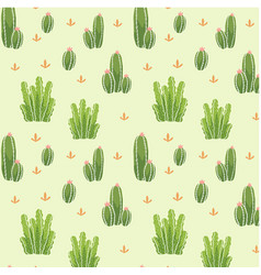botanicals pattern set of cactus background vector image
