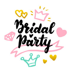 bridal party lettering postcard vector image
