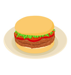 burger icon isometric style vector image