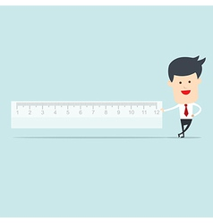 Business man user ruler measure vector image