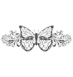 butterfly with beautiful filigree floral vector image