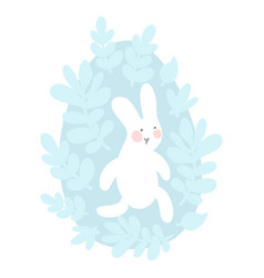 cartoon easter bunny and cute chick egg with vector image