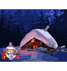 cartoon girl Snow Maiden stands near the hut vector image