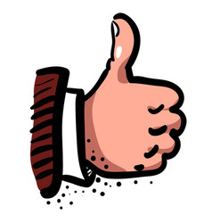 Cartoon image of thumb up icon good symbol vector