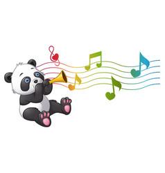 Cartoon panda playing a trumpet vector
