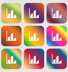 Chart icon Nine buttons with bright gradients for vector image vector image