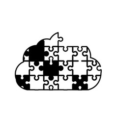 Cloud puzzle solution monochrome vector