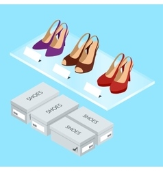 Colorful womans shoes and boxes Womens shoes with vector