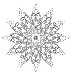 Coloring book page round decorative ethnic motif vector