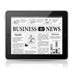 Concept - Digital News Tablet PC with Newspaper vector