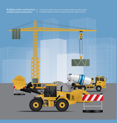 construction vehicles on site vector image