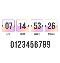 Countdown timer clock counter digital scoreboard vector