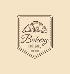 croissant logo vintage bakery iconretro emblem vector image