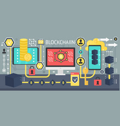 Cryptocurrency bitcoin and blockchain network vector