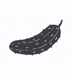 Cucumber or pickle silhouette vector